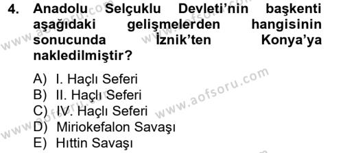 Bizans Tarihi Dersi 2012 - 2013 Yılı (Final) Dönem Sonu Sınavı 4. Soru