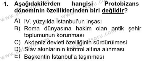 Tarih Bölümü 2. Yarıyıl Bizans Tarihi Dersi 2014 Yılı Bahar Dönemi Ara Sınavı 1. Soru