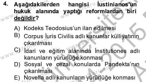 Tarih Bölümü 2. Yarıyıl Bizans Tarihi Dersi 2015 Yılı Bahar Dönemi Ara Sınavı 4. Soru