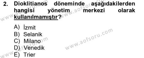 Tarih Bölümü 2. Yarıyıl Bizans Tarihi Dersi 2015 Yılı Bahar Dönemi Dönem Sonu Sınavı 2. Soru
