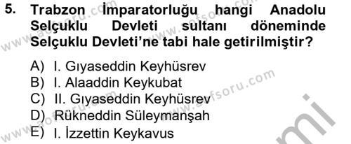 Tarih Bölümü 2. Yarıyıl Bizans Tarihi Dersi 2015 Yılı Bahar Dönemi Dönem Sonu Sınavı 5. Soru