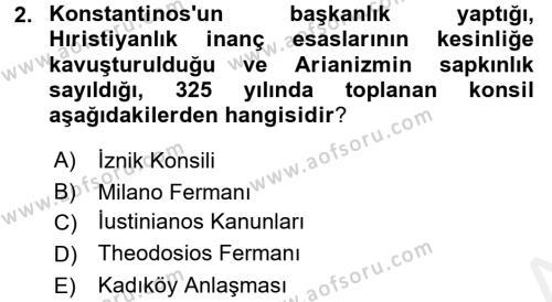Bizans Tarihi Dersi 2015 - 2016 Yılı (Vize) Ara Sınav Soruları 2. Soru