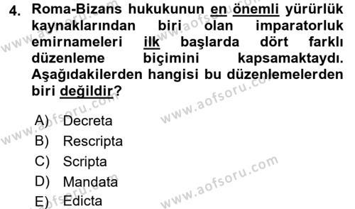 Bizans Tarihi Dersi 2015 - 2016 Yılı Dönem Sonu Sınavı 4. Soru