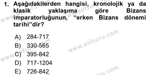 Bizans Tarihi Dersi 2016 - 2017 Yılı (Vize) Ara Sınavı 1. Soru