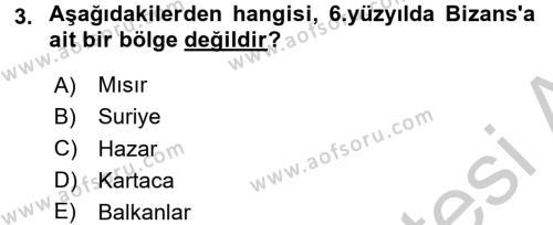 Bizans Tarihi Dersi 2016 - 2017 Yılı (Vize) Ara Sınavı 3. Soru