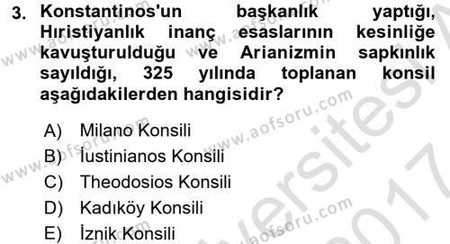 Bizans Tarihi Dersi 2016 - 2017 Yılı (Final) Dönem Sonu Sınavı 3. Soru