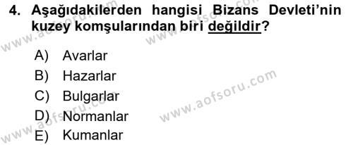 Bizans Tarihi Dersi 2017 - 2018 Yılı (Vize) Ara Sınav Soruları 4. Soru
