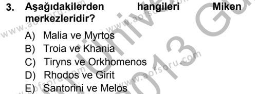 Hellen ve Roma Tarihi Dersi 2012 - 2013 Yılı Ara Sınavı 3. Soru