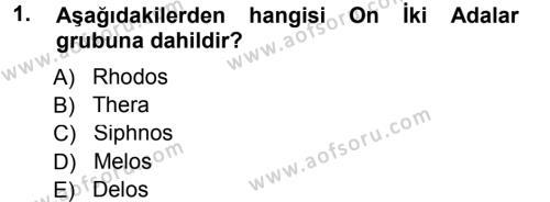 Hellen ve Roma Tarihi Dersi 2012 - 2013 Yılı Dönem Sonu Sınavı 1. Soru