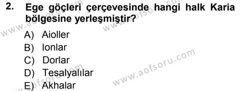 Hellen ve Roma Tarihi Dersi 2012 - 2013 Yılı Dönem Sonu Sınavı 2. Soru