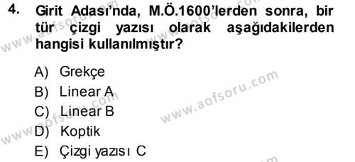 Hellen ve Roma Tarihi Dersi 2013 - 2014 Yılı Ara Sınavı 4. Soru
