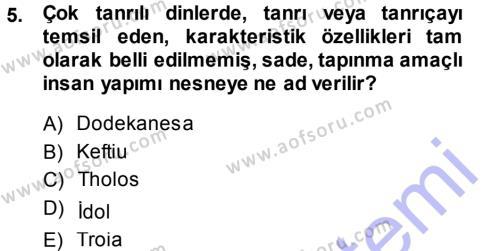 Tarih Bölümü 1. Yarıyıl Hellen ve Roma Tarihi Dersi 2014 Yılı Güz Dönemi Ara Sınavı 5. Soru