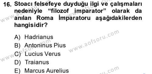Hellen ve Roma Tarihi Dersi 2013 - 2014 Yılı Dönem Sonu Sınavı 16. Soru 1. Soru