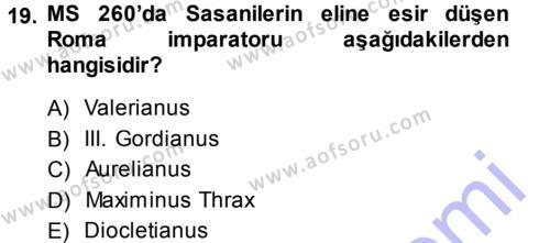 Hellen ve Roma Tarihi Dersi Dönem Sonu Sınavı Deneme Sınav Soruları 19. Soru