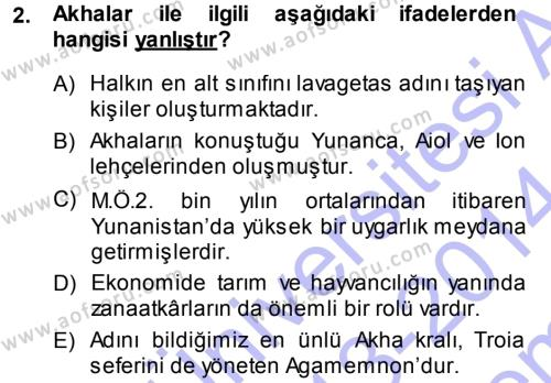 Hellen ve Roma Tarihi Dersi 2013 - 2014 Yılı (Final) Dönem Sonu Sınav Soruları 2. Soru
