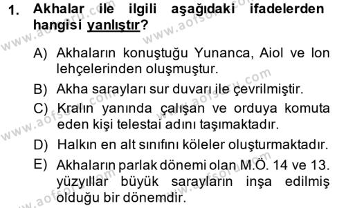 Tarih Bölümü 1. Yarıyıl Hellen ve Roma Tarihi Dersi 2015 Yılı Güz Dönemi Ara Sınavı 1. Soru