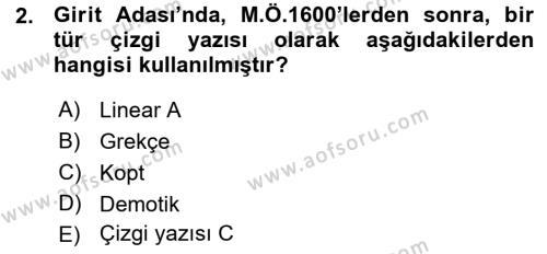 Tarih Bölümü 1. Yarıyıl Hellen ve Roma Tarihi Dersi 2016 Yılı Güz Dönemi Ara Sınavı 2. Soru