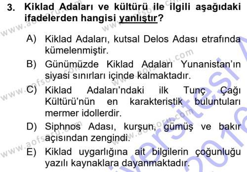 Tarih Bölümü 1. Yarıyıl Hellen ve Roma Tarihi Dersi 2016 Yılı Güz Dönemi Ara Sınavı 3. Soru