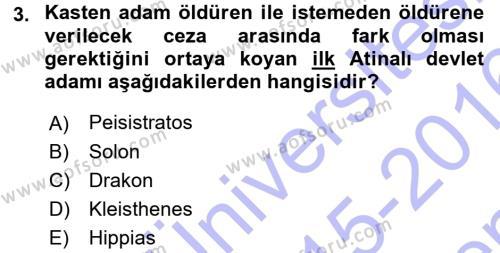 Hellen ve Roma Tarihi Dersi 2015 - 2016 Yılı Dönem Sonu Sınavı 3. Soru