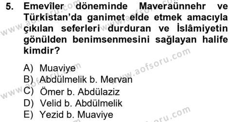 Tarih Bölümü 2. Yarıyıl İlk Müslüman Türk Devletleri Dersi 2013 Yılı Bahar Dönemi Ara Sınavı 5. Soru