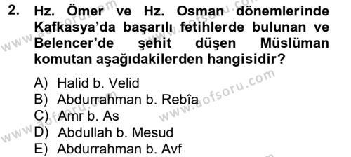 İlk Müslüman Türk Devletleri Dersi 2012 - 2013 Yılı (Final) Dönem Sonu Sınav Soruları 2. Soru