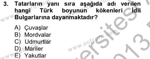 Tarih Bölümü 2. Yarıyıl İlk Müslüman Türk Devletleri Dersi 2013 Yılı Bahar Dönemi Dönem Sonu Sınavı 3. Soru