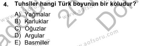 Tarih Bölümü 2. Yarıyıl İlk Müslüman Türk Devletleri Dersi 2013 Yılı Bahar Dönemi Dönem Sonu Sınavı 4. Soru