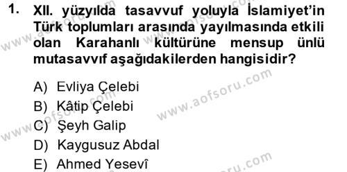 Tarih Bölümü 2. Yarıyıl İlk Müslüman Türk Devletleri Dersi 2014 Yılı Bahar Dönemi Ara Sınavı 1. Soru