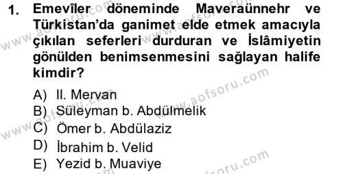 Tarih Bölümü 2. Yarıyıl İlk Müslüman Türk Devletleri Dersi 2014 Yılı Bahar Dönemi Dönem Sonu Sınavı 1. Soru