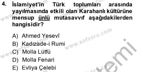 İlk Müslüman Türk Devletleri Dersi 2014 - 2015 Yılı Ara Sınavı 4. Soru