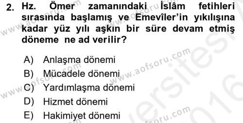 İlk Müslüman Türk Devletleri Dersi 2015 - 2016 Yılı Ara Sınavı 2. Soru