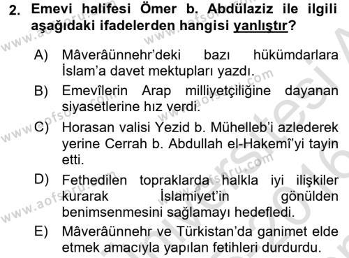 İlk Müslüman Türk Devletleri Dersi 2015 - 2016 Yılı Dönem Sonu Sınavı 2. Soru