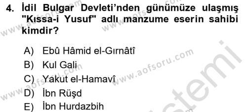 İlk Müslüman Türk Devletleri Dersi 2015 - 2016 Yılı Dönem Sonu Sınavı 4. Soru