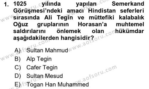 İlk Müslüman Türk Devletleri Dersi 2016 - 2017 Yılı Dönem Sonu Sınavı 1. Soru