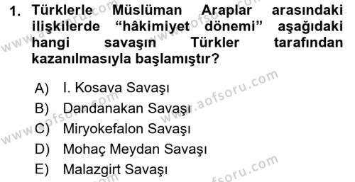İlk Müslüman Türk Devletleri Dersi 2018 - 2019 Yılı (Vize) Ara Sınav Soruları 1. Soru