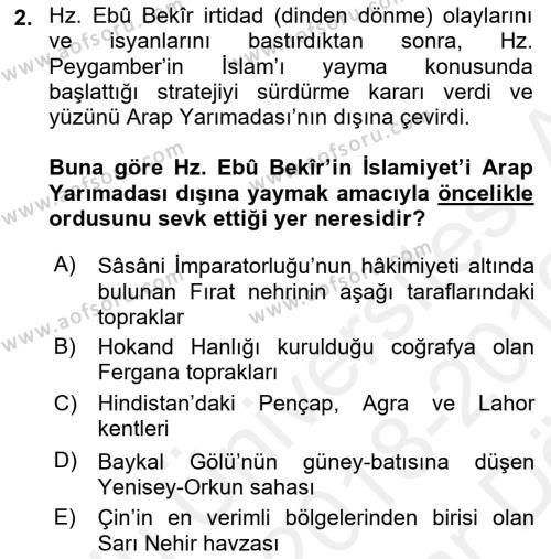 İlk Müslüman Türk Devletleri Dersi 2018 - 2019 Yılı (Vize) Ara Sınav Soruları 2. Soru