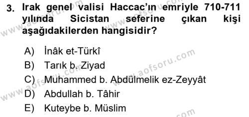 İlk Müslüman Türk Devletleri Dersi 2018 - 2019 Yılı (Vize) Ara Sınav Soruları 3. Soru