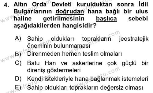 İlk Müslüman Türk Devletleri Dersi 2018 - 2019 Yılı (Final) Dönem Sonu Sınav Soruları 4. Soru