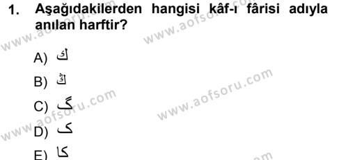 Tarih Bölümü 1. Yarıyıl Osmanlı Türkçesi I Dersi 2013 Yılı Güz Dönemi Ara Sınavı 1. Soru