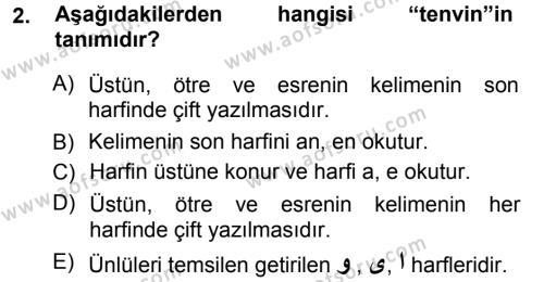 Osmanlı Türkçesi 1 Dersi 2012 - 2013 Yılı (Vize) Ara Sınav Soruları 2. Soru