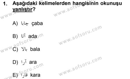 Osmanlı Türkçesi 1 Dersi 2012 - 2013 Yılı Dönem Sonu Sınavı 1. Soru