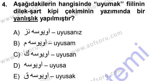 Osmanlı Türkçesi 1 Dersi 2012 - 2013 Yılı Dönem Sonu Sınavı 4. Soru