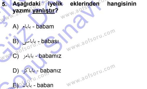 Tarih Bölümü 1. Yarıyıl Osmanlı Türkçesi I Dersi 2013 Yılı Güz Dönemi Dönem Sonu Sınavı 5. Soru