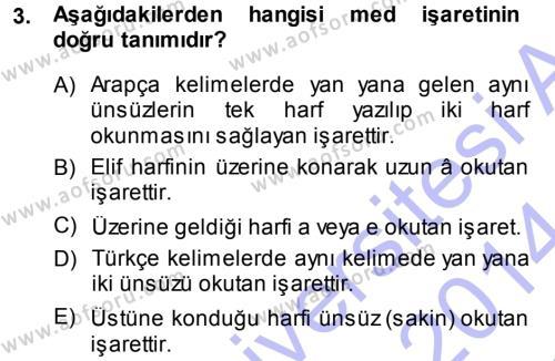 Osmanlı Türkçesi 1 Dersi 2013 - 2014 Yılı (Final) Dönem Sonu Sınavı 3. Soru