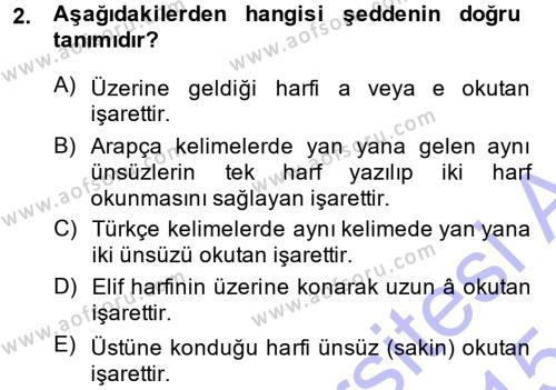 Osmanlı Türkçesi 1 Dersi 2014 - 2015 Yılı (Vize) Ara Sınav Soruları 2. Soru