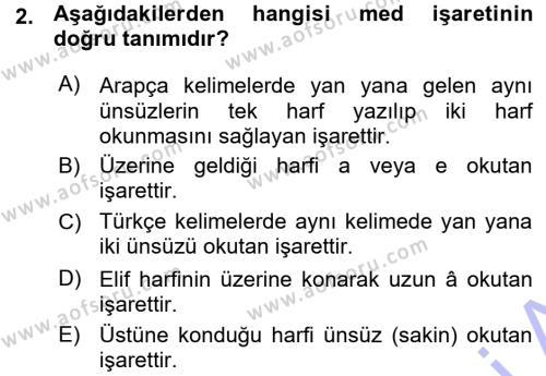 Osmanlı Türkçesi 1 Dersi 2015 - 2016 Yılı Ara Sınavı 2. Soru