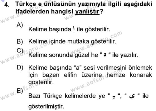 Tarih Bölümü 1. Yarıyıl Osmanlı Türkçesi I Dersi 2016 Yılı Güz Dönemi Ara Sınavı 4. Soru