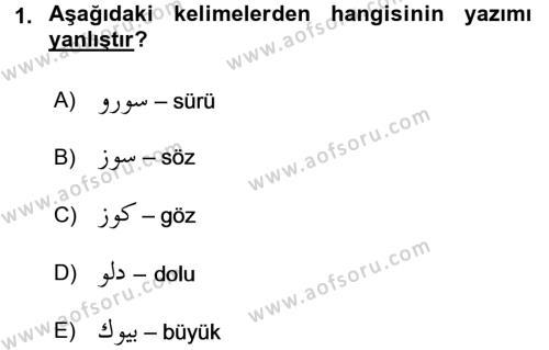 Tarih Bölümü 1. Yarıyıl Osmanlı Türkçesi I Dersi 2016 Yılı Güz Dönemi Dönem Sonu Sınavı 1. Soru