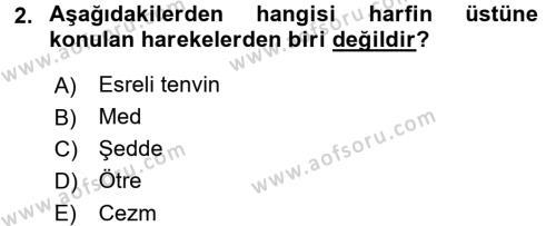Osmanlı Türkçesi 1 Dersi 2018 - 2019 Yılı (Final) Dönem Sonu Sınav Soruları 2. Soru