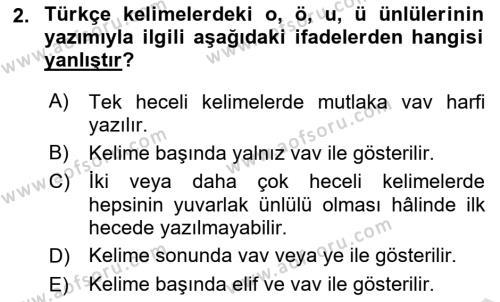 Osmanlı Türkçesi 1 Dersi 2019 - 2020 Yılı (Vize) Ara Sınav Soruları 2. Soru
